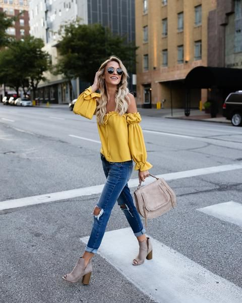 yellow off the shoulder top classy chic