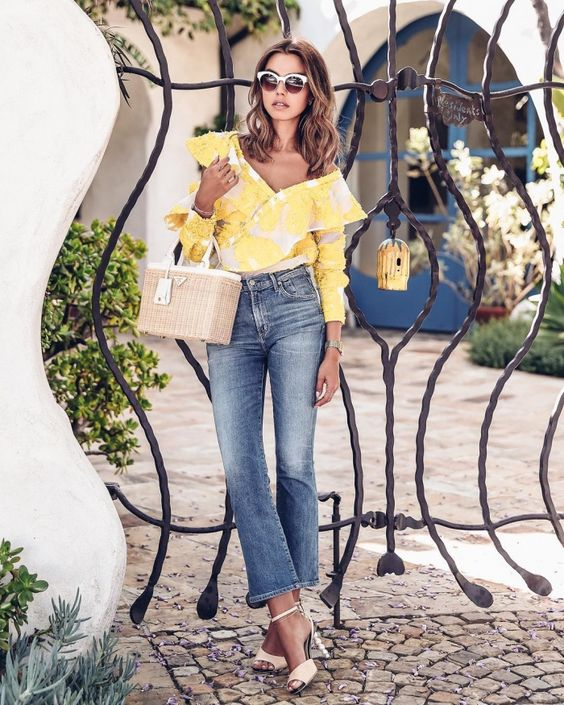 yellow off the shoulder top floral embroidery