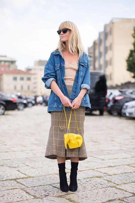 yellow plaid skirt denim jacket