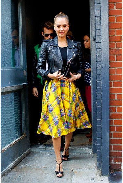yellow plaid skirt leather jacket