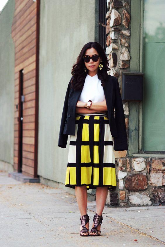 yellow plaid skirt modern