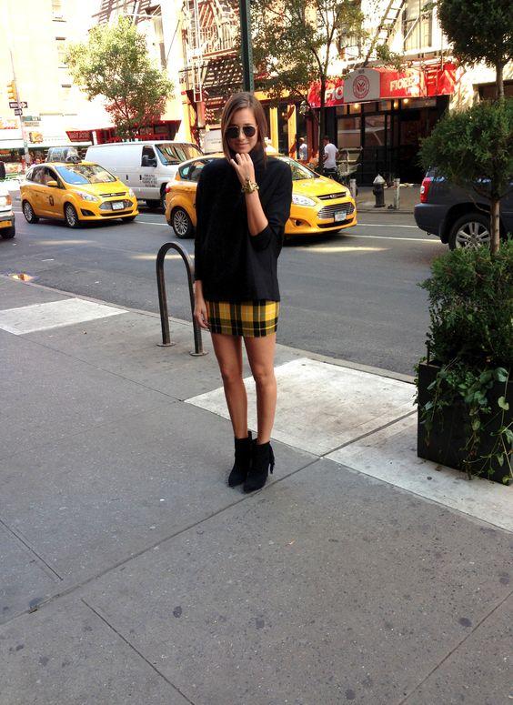 yellow plaid skirt tunic