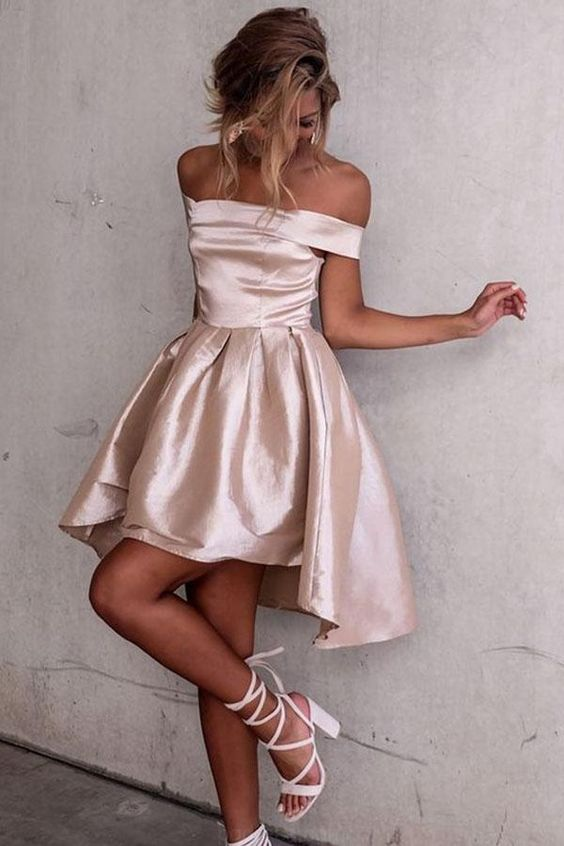 high low prom dress soft pink