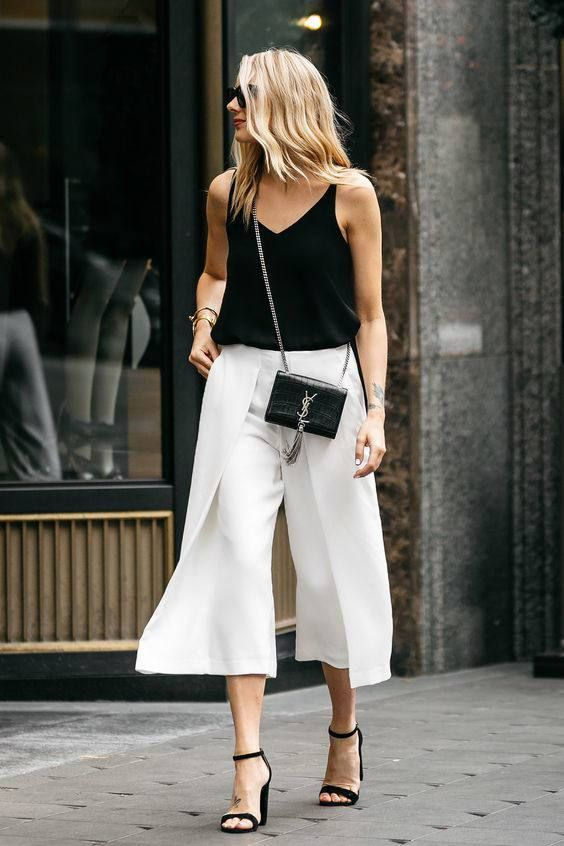cropped wide leg pants black white
