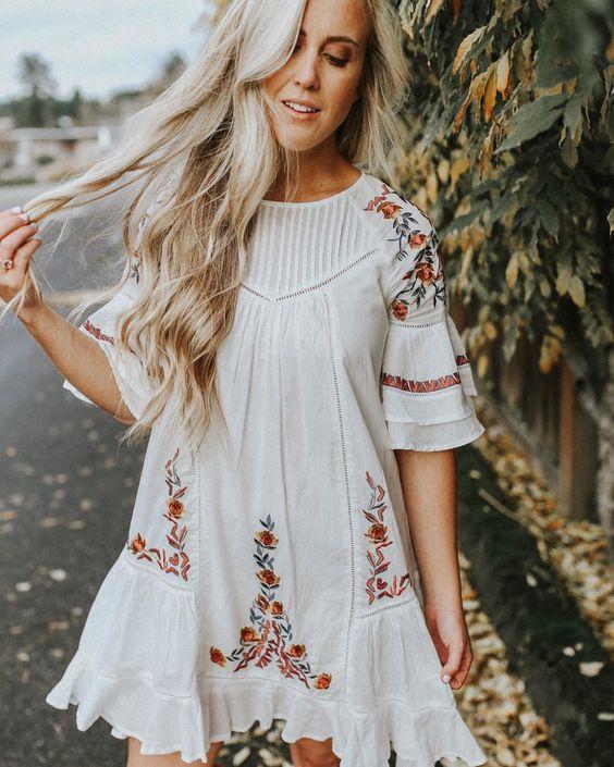 white embroidery dress a line