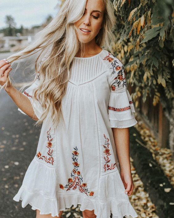 white embroidery dress a line