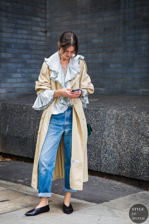 ruffle sleeve blouse trench coat