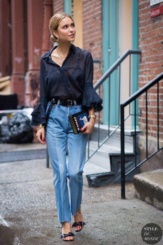 ruffle sleeve blouse navy blue