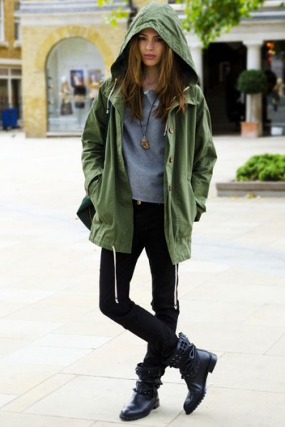 anorak jacket fitted sweater black skinny jeans