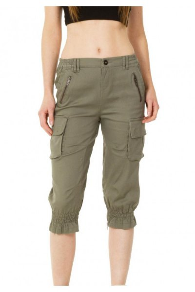 army green long cargo shorts with black crop top
