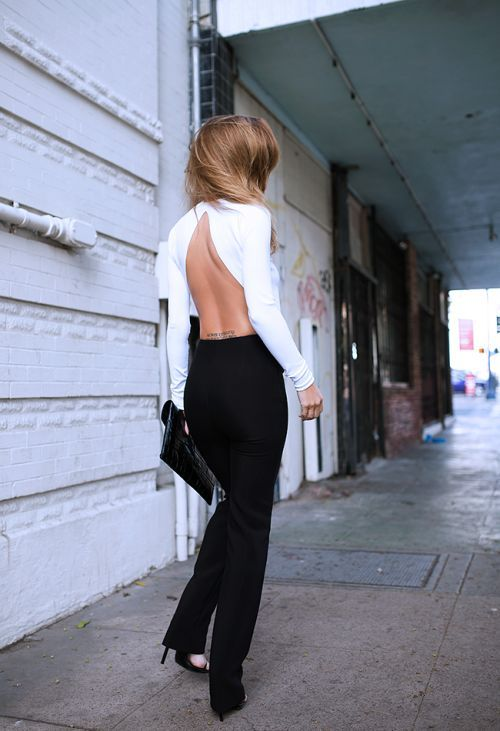 backless jumpsuit black white