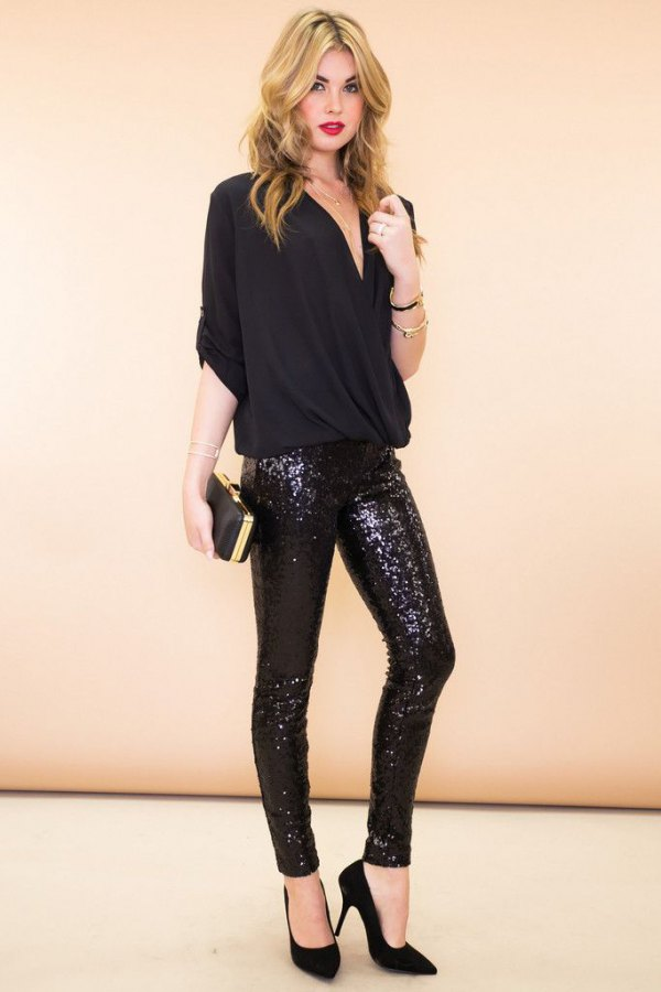 0709498d5b080f How to Style Glitter Pants: 15 Sparkly & Stylish Outfit Ideas. best glitter  pants outfit ideas