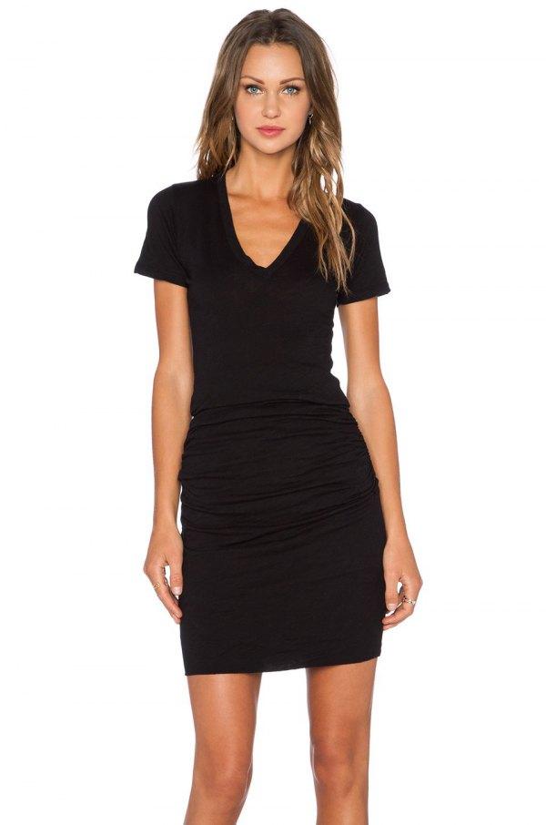 a5b91241c55 How to Wear Black V Neck Dress  15 Amazing Outfit Ideas - FMag.com