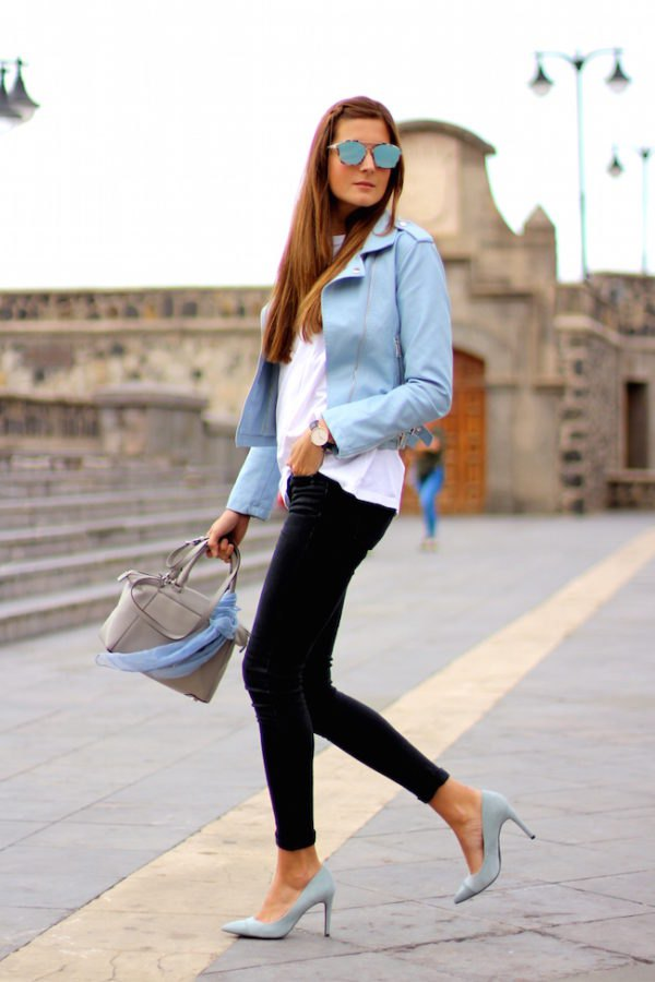 2e1055edded How to Wear Blue Leather Jacket: 15 Best Outfit Ideas - FMag.com