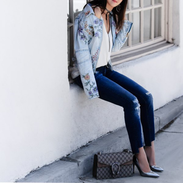 How To Wear Embroidered Denim Jacket 15 Stylish Outfits Fmag Com