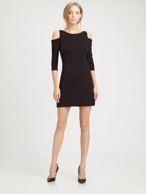 best black cold shoulder dress outfits