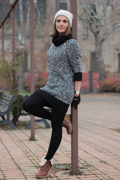 black and heather grey color block turtleneck mini knitted dress