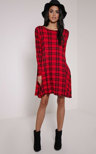black and red plaid swing dress with floppy hat