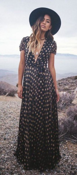 black and white star printed low cut maxi dress