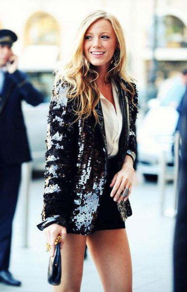 black blazer with white button up shirt with mini skirt