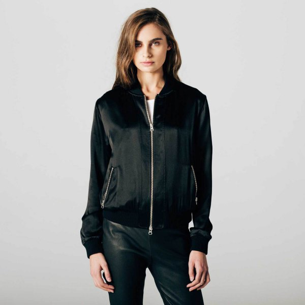 black bomber jacket with leather pants