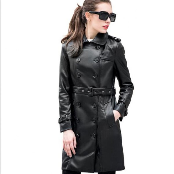 black buttoned leather belted long coat with skinny jeans