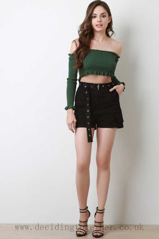 black cargo shorts green off the shoulder top