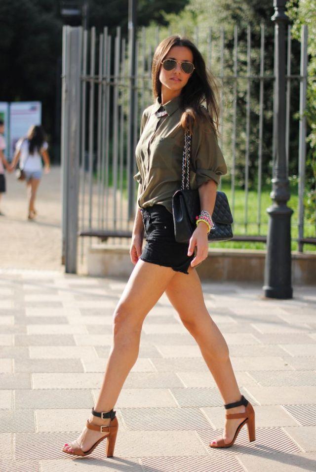 black cargo shorts olive green