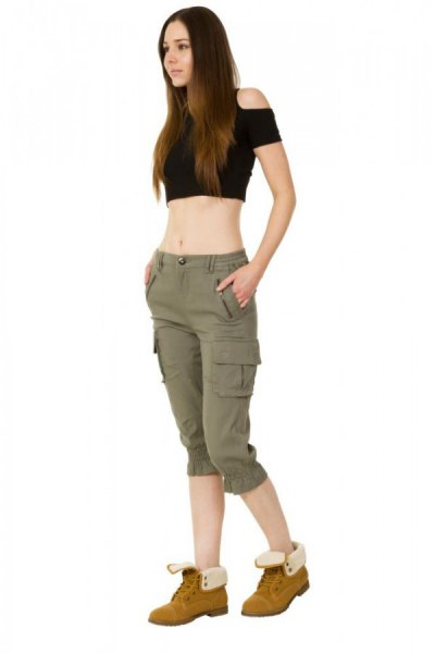 black cold shoulder crop top green long cargo shorts