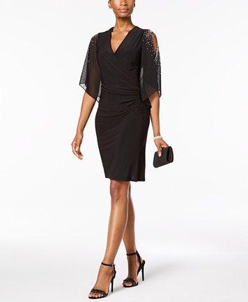 black cold shoulder v neck ruched dress with chiffon overlay