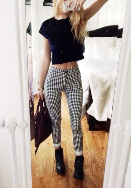 black cropped t shirt skinny checkered pants