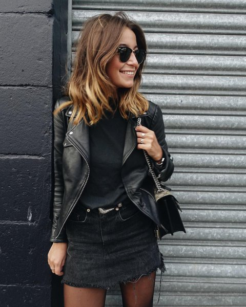 black denim skirt with sweater and leather moto jacket
