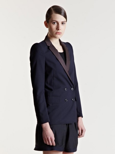 black double breasted suit jacket with matching flowy shorts