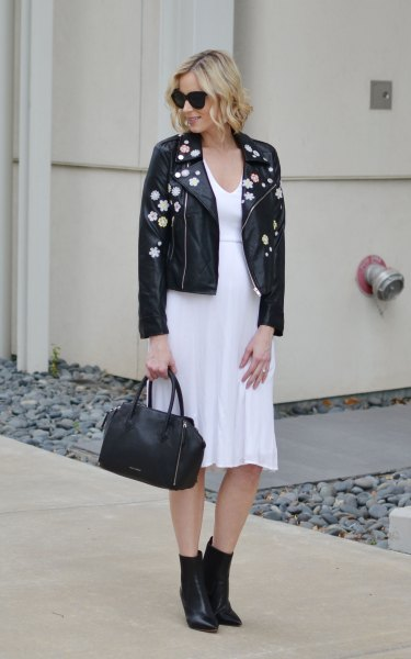 black embroidered leather jacket white chiffon midi flared dress