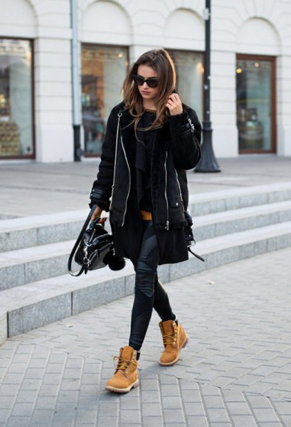 black fitted sweater camel combat boots