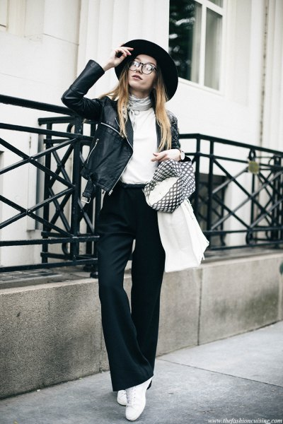 black flared pants white cowl neck top leather jacket