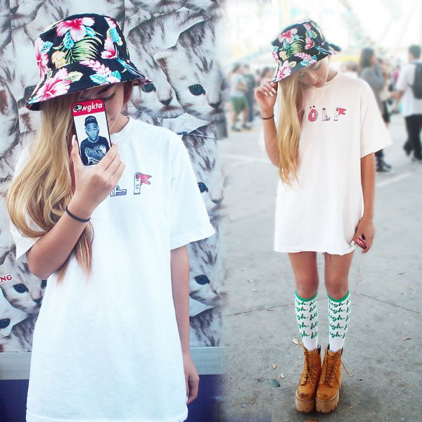 black floral bucket hat with white t shirt dress