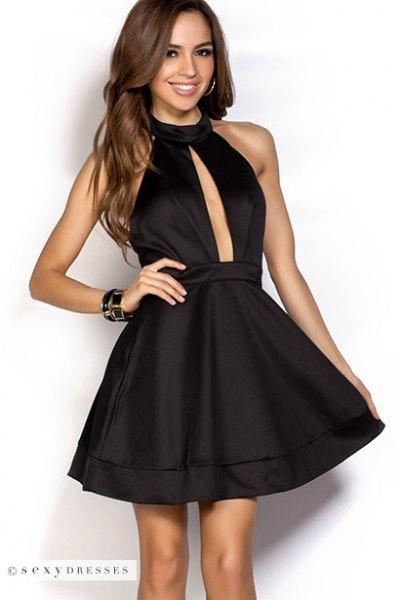 black halter neck plunging neckline silk skater dress