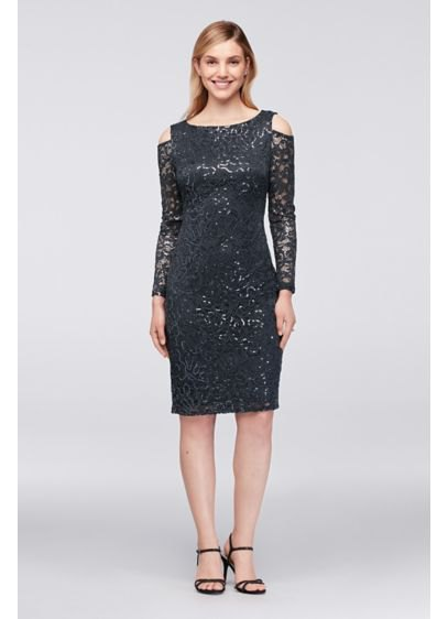black lace midi cold shoulder cocktail dress