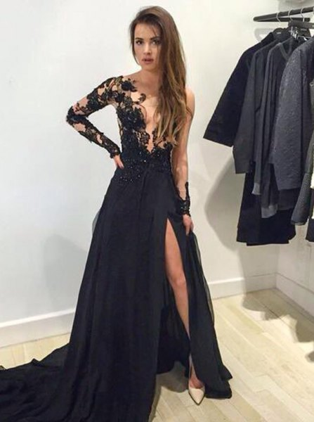 black lace one sleeve deep v neck evening gown dress