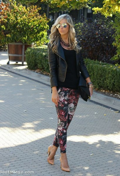 black leather blazer with floral pants