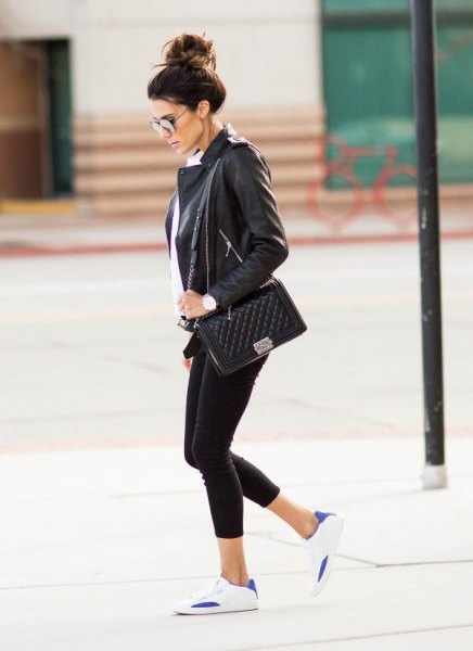 black leather blazer with white button up shirt and sneakers