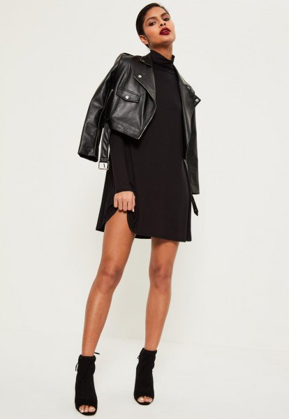 black leather jacket with mock neck swing dress