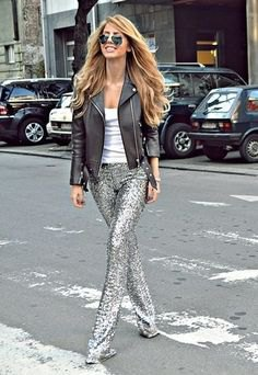 black leather jacket with silver straight leg glitter pants