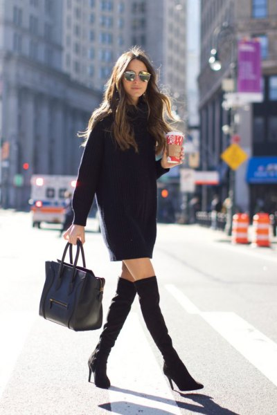 black long sleeve mini dress with thigh high boots