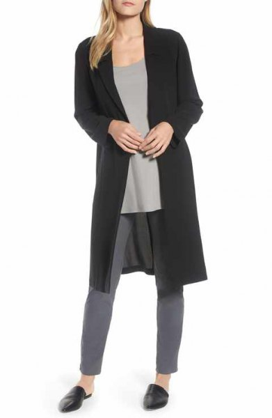 black longline silk jacket with grey skinny jeans
