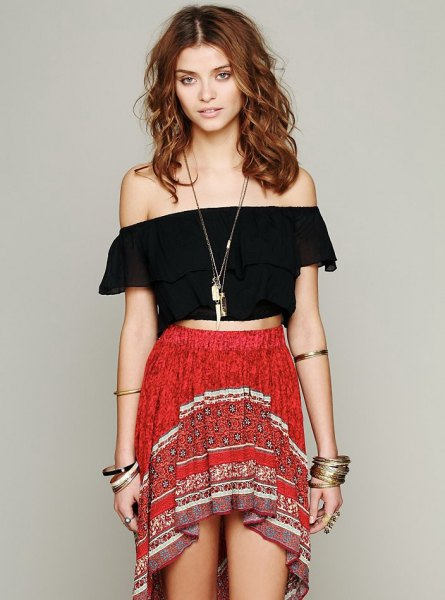 black off the shoulder cropped blouse red high low mini bohemian skirt