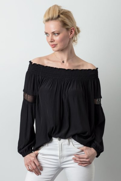 black off the shoulder peasant top white skinny jeans