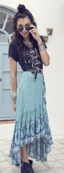 black print tee light blue high low maxi bohemian skirt