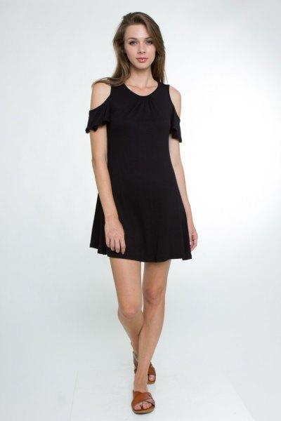 black ruffle sleeve cold shoulder swing dress